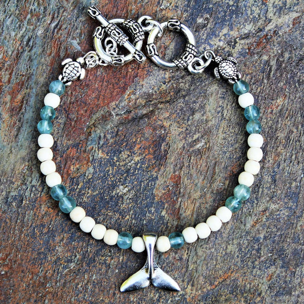 Dolphin/Whale/Mermaid Tail Sea Glass beaded Memory Wire Bangle bracelet