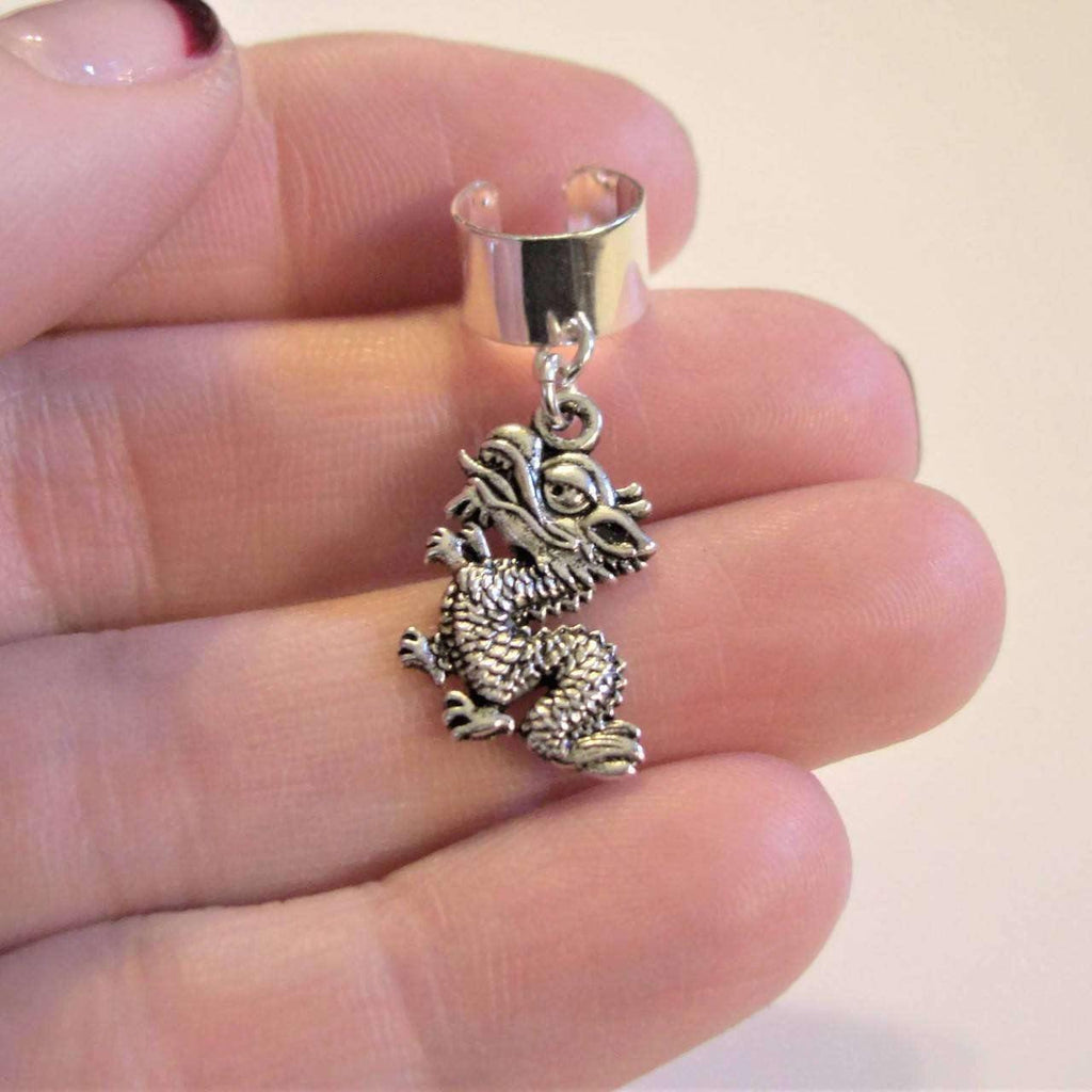 Ladybugfeet Jewelry Designs:Dragon ear cuff, Silver plated Ear Cuff dangle