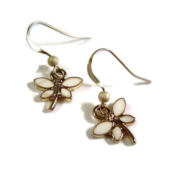 Dragonfly Earrings, White Enamel and Rose Gold