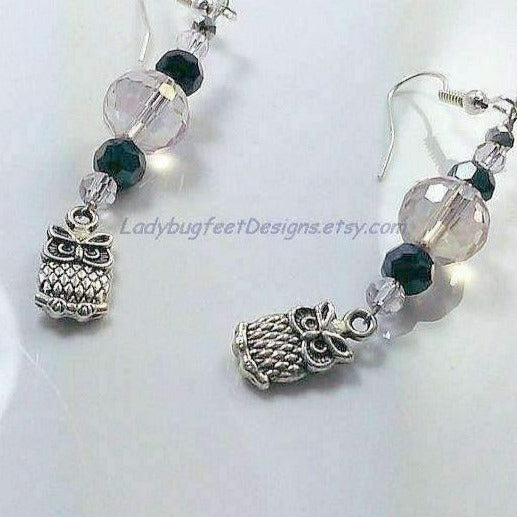 Ladybugfeet Jewelry Designs:EARRINGS, OWL CRYSTAL Dangles