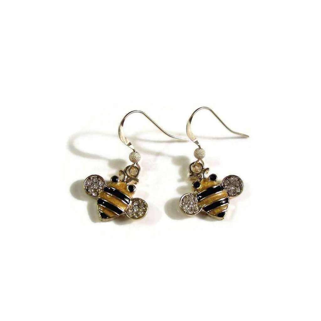 Ladybugfeet Jewelry Designs:Enamel Honeybee EARRINGS, 14k Yellow Gold filled French hook earring Dangles