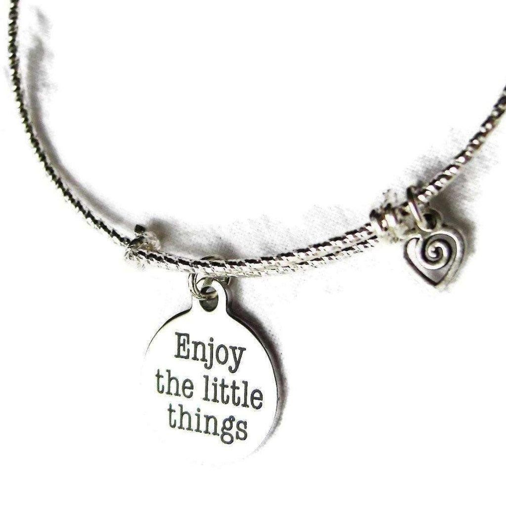 ENJOY the LITTLE THINGS adjustable bangle Bracelet - Ladybugfeet Jewelry Designs