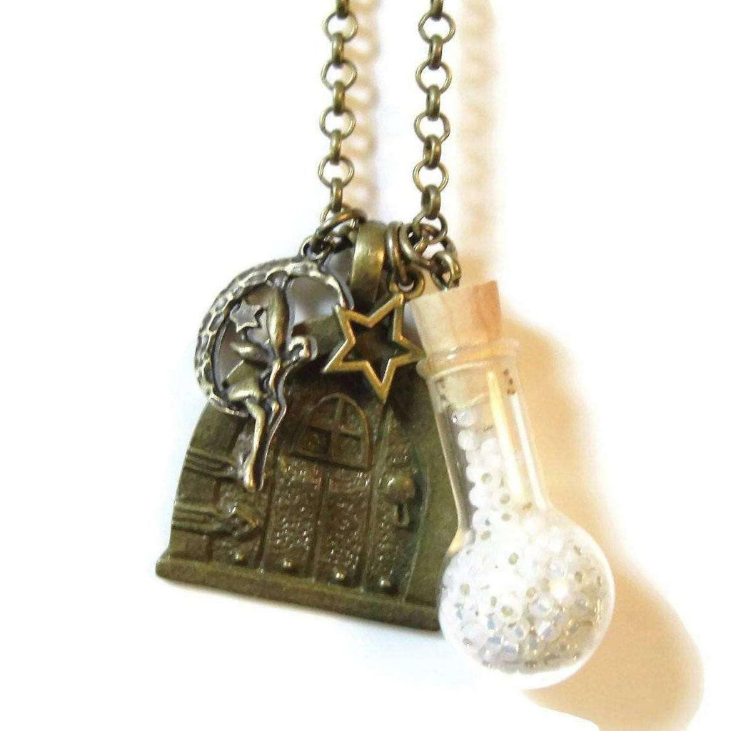 Ladybugfeet Jewelry Designs:Fairy Door and Bottle of Wishes Necklace, 24 inch