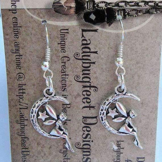 Ladybugfeet Jewelry Designs:FAIRY EARRINGS, Moon sitting Fairy