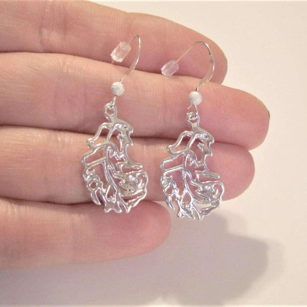 Ladybugfeet Jewelry Designs:Fancy Leaf earrings, Sparkly Leaf Sterling silver hook earring, Dangle earrings