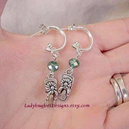 Ladybugfeet Jewelry Designs:FLIP FLOP Sterling Silver Crystal Earrings