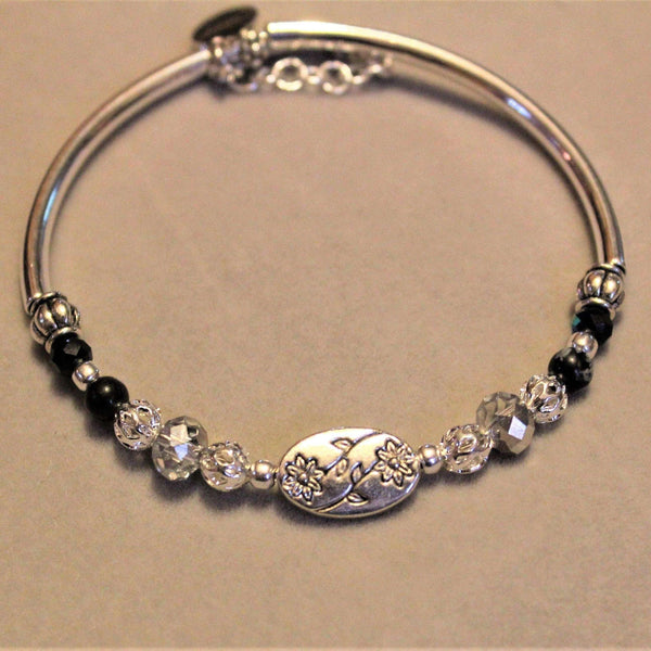 Flower Charm Crystal & Silver Tube Memory Wire Bangle bracelet