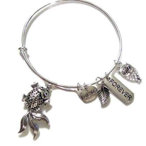 Ladybugfeet Jewelry Designs:FRIENDS FOREVER KOI Owl Adjustable Bangle