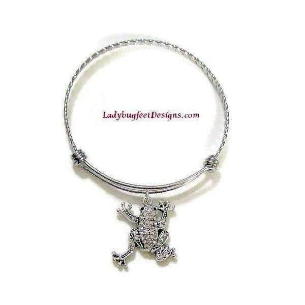 Ladybugfeet Jewelry Designs:FROG RHINESTONE twisted stainless steel adjustable bangle Bracelet,One Size Fits Most