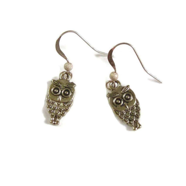 Ladybugfeet Jewelry Designs:Gold OWL EARRINGS