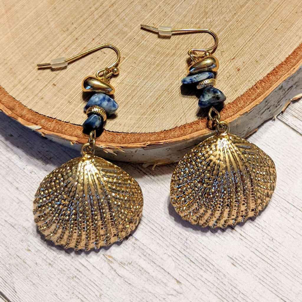 Ladybugfeet Jewelry Designs:Gold Sea Shell beaded hook earrings