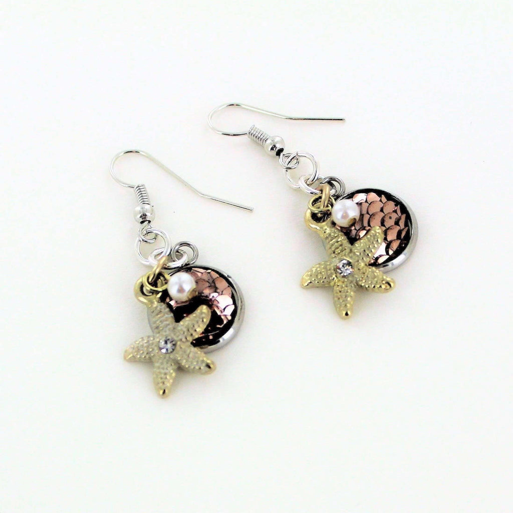 Ladybugfeet Jewelry Designs:Gold Starfish, Pearl & Shiny Scale Dangle Earrings