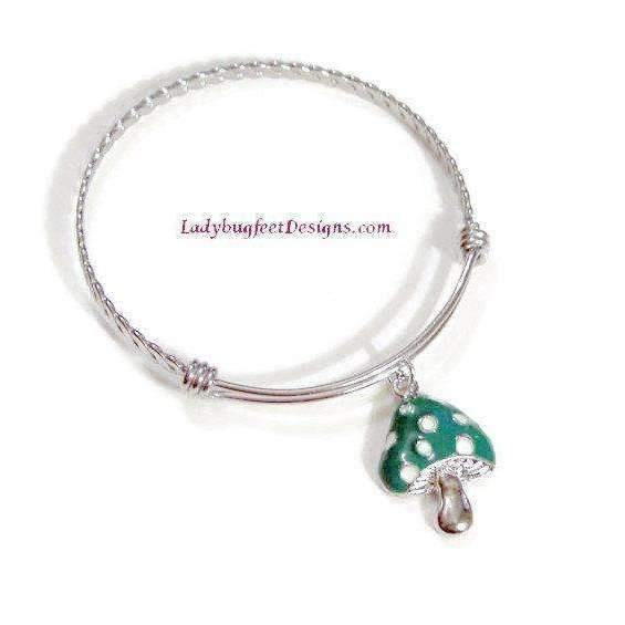 Ladybugfeet Jewelry Designs:Green Enamel MUSHROOM bangle Bracelet