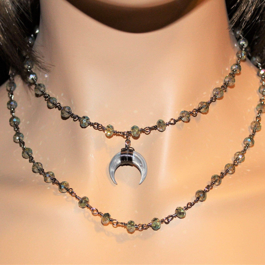 Ladybugfeet Jewelry Designs:Gunmetal & Crystal Layered Choker with Crescent Horn Charm