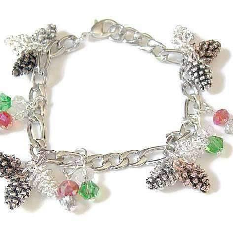 Ladybugfeet Jewelry Designs:Holiday 3 Pine Cone bracelet