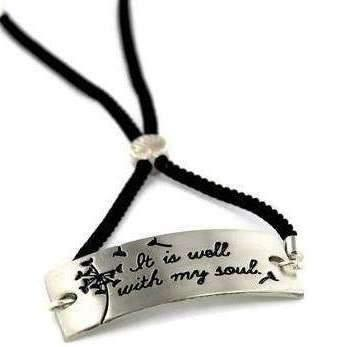 Ladybugfeet Jewelry Designs:It Is Well With My Soul -Adjustable Inspirational Bolo Bracelet