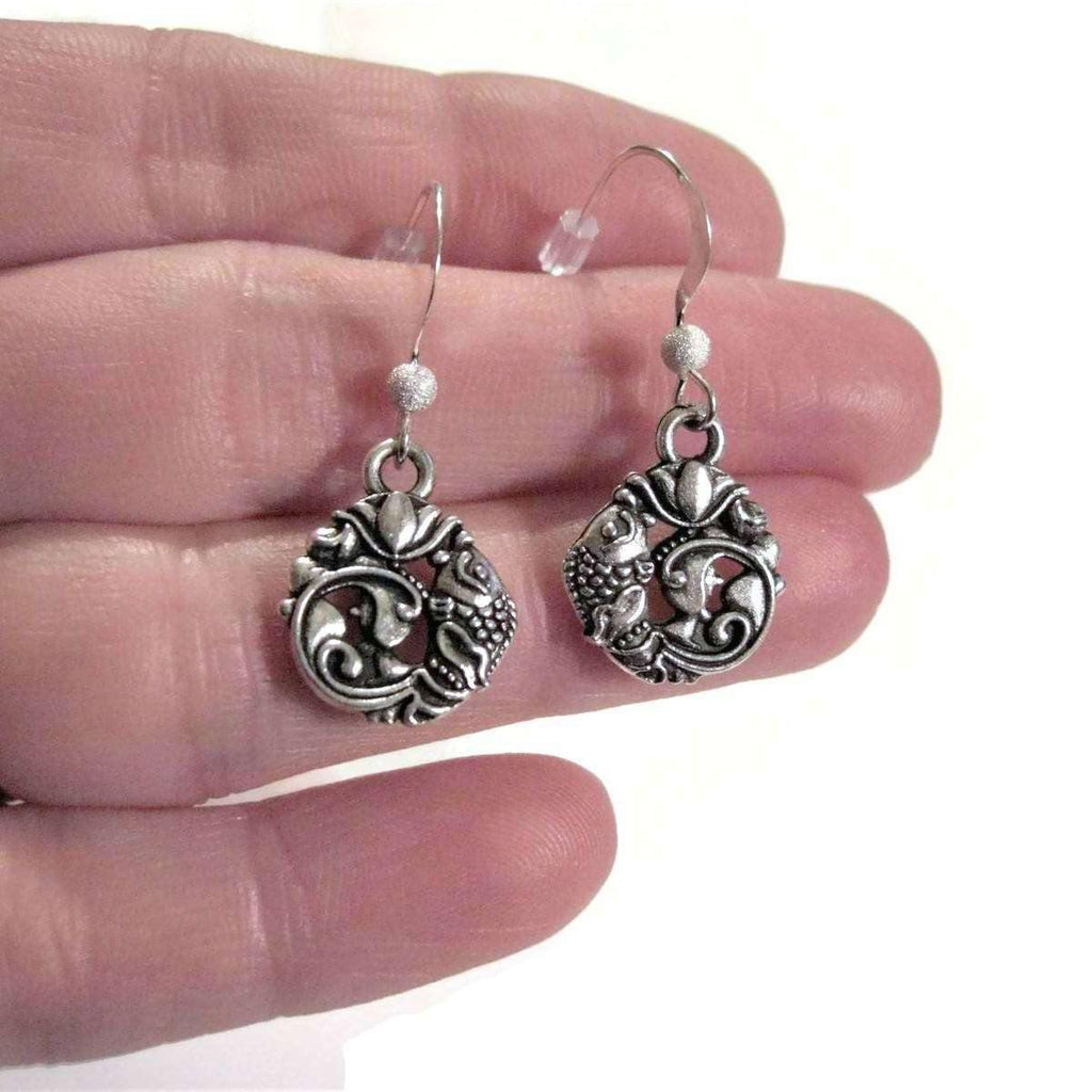 Ladybugfeet Jewelry Designs:Koi Fish Pendant earrings, Japanese Koi Sterling silver hook earring, Dangle earrings