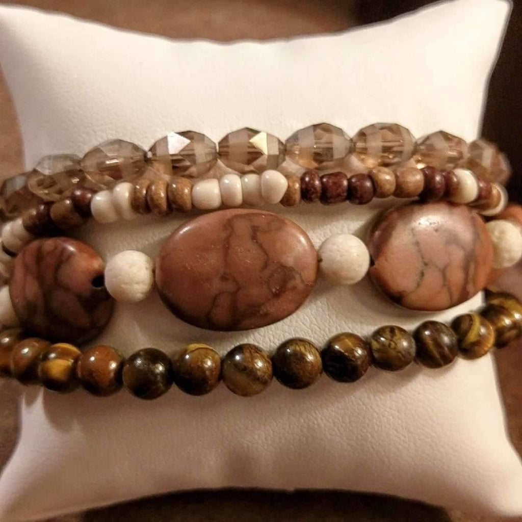 Chunky Brown Beaded Boho Cuff Bracelet - Ladybugfeet Jewelry Designs