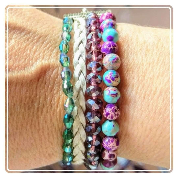 Ladybugfeet Jewelry Designs:Proud Peacock Beaded Boho Cuff Bracelet