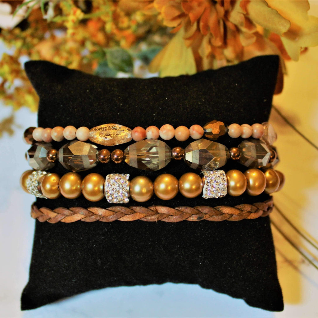Ladybugfeet Jewelry Designs:Sparkly Sands Beaded Boho Cuff Bracelet