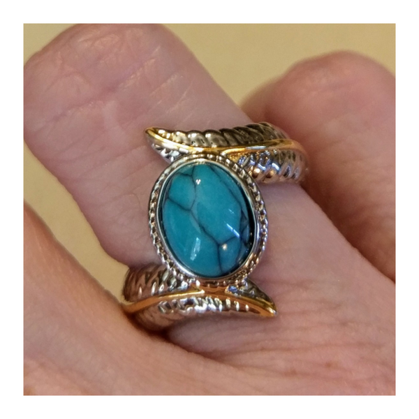 Ladybugfeet Jewelry Designs:Turquoise Two Tone Ring