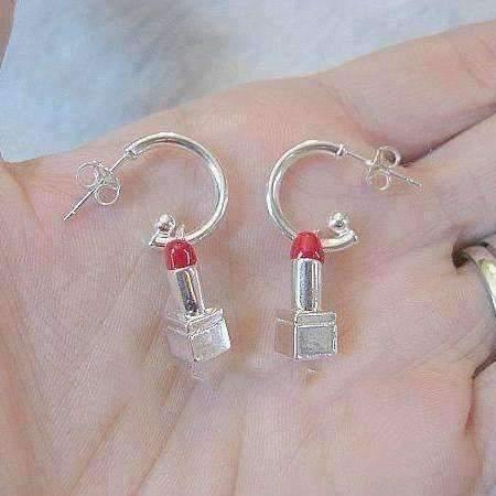 Ladybugfeet Jewelry Designs:LIPSTICK Hoop EARRINGS