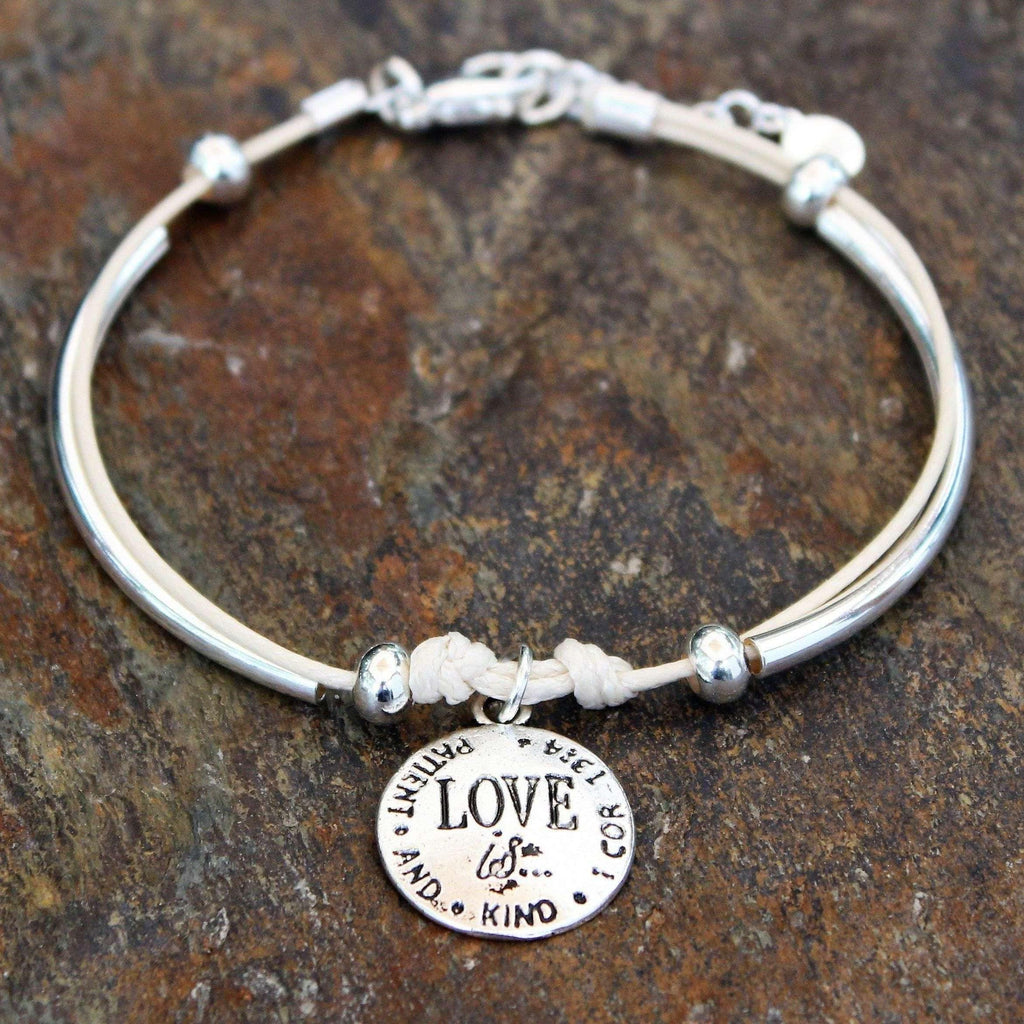 Ladybugfeet Jewelry Designs:Love Is...Multi Strand Silver Tube Beaded Waxed Cord Bracelet