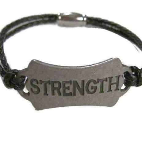 Ladybugfeet Jewelry Designs:Men's Leather STRENGTH bracelet