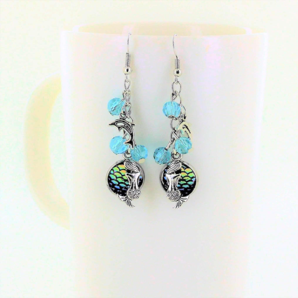 Ladybugfeet Jewelry Designs:Mermaid, Dolphin & Shiny Scale & Aqua Blue Crystal Dangle Earrings