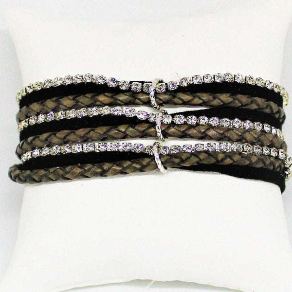Ladybugfeet Jewelry Designs:Multi Wrap Rhinestone, Leather, Suede Bracelet - Gray colored Braided Vegan Leathers