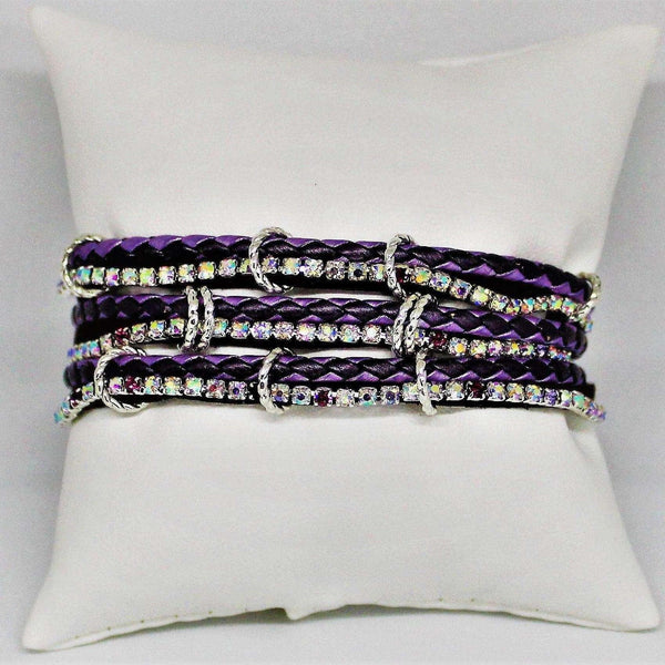Multi Wrap Rhinestone, Leather, Suede Bracelet - Metallic Purple colored Braided Vegan Leathers