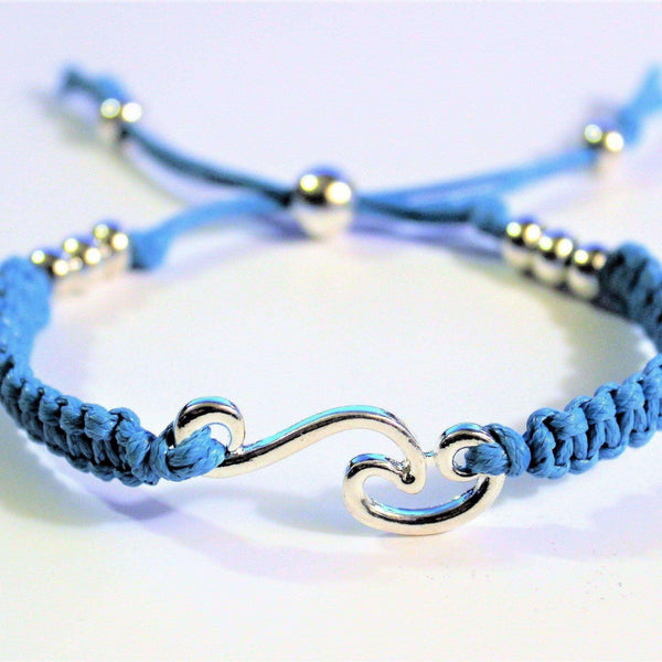 Ladybugfeet Jewelry Designs:Ocean Wave adjustable Macrame' Waxed Cord Bracelet/Anklet,Gift for her
