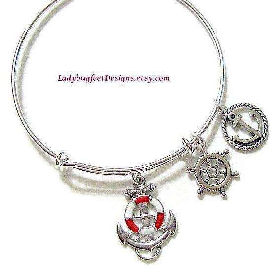 Ladybugfeet Jewelry Designs:Ocean/Sea ANCHOR, SHIP'S WHEEL adjustable Bangle