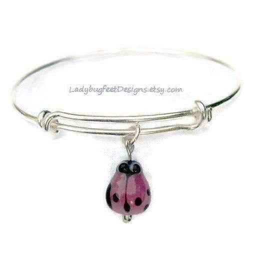Ladybugfeet Jewelry Designs:PINK LADYBUG Adjustable Wire Bangle