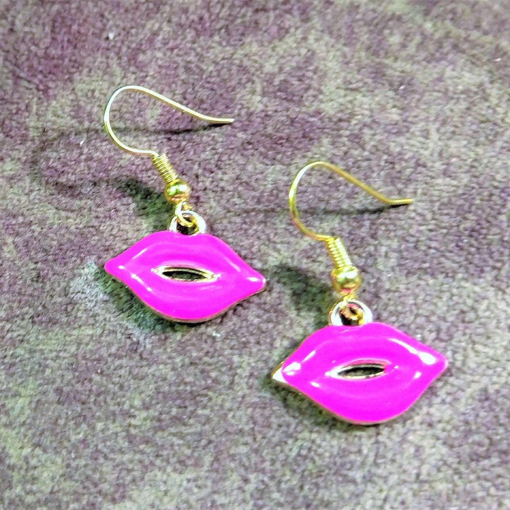 Ladybugfeet Jewelry Designs:Pink Lip dangle EARRINGS