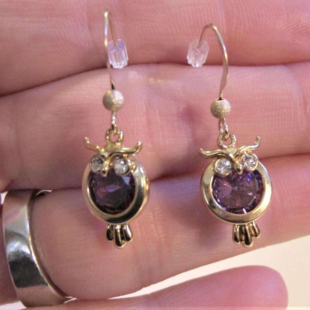 Purple Crystal Owl earrings, 14k Gold filled Dangle earrings