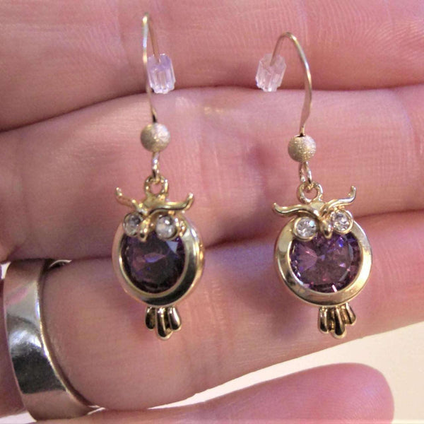 Ladybugfeet Jewelry Designs:Purple Crystal Owl earrings, 14k Gold filled Dangle earrings