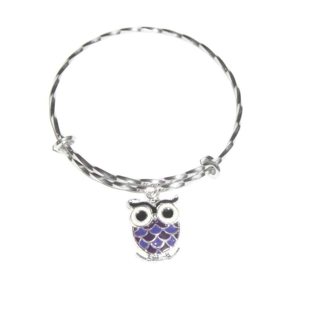 Ladybugfeet Jewelry Designs:Purple OWL twisted stainless steel bangle