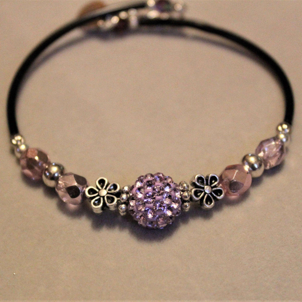 Purple Rhinestone Memory Wire Bangle bracelet