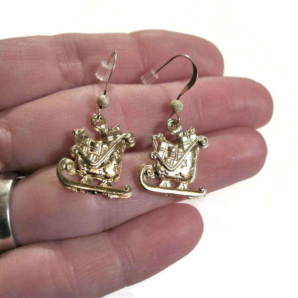 Ladybugfeet Jewelry Designs:Santa's Sleigh earrings, Holiday 14k filled hook earring, Dangle earrings
