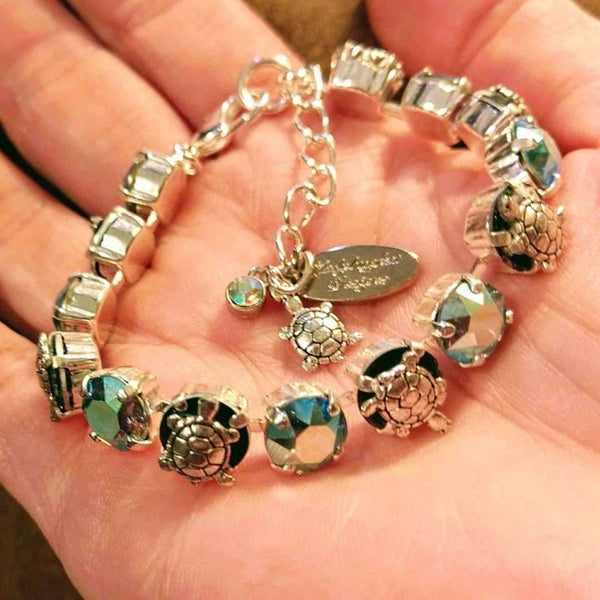 Sea Turtle and Swarovski Crystal Bracelet
