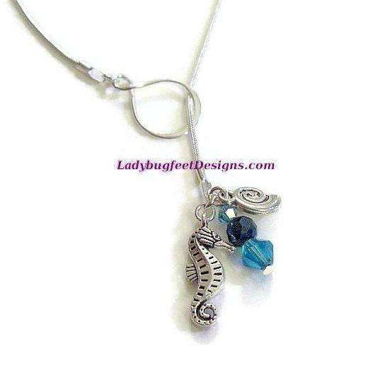 Ladybugfeet Jewelry Designs:Seahorse Lariat necklace, 24 inch