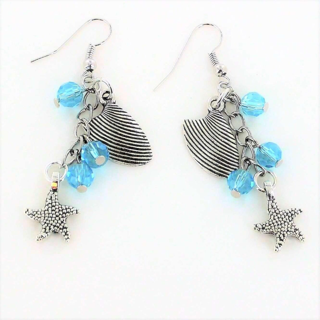 Ladybugfeet Jewelry Designs:Seashell Starfish Crystal Dangle Earrings