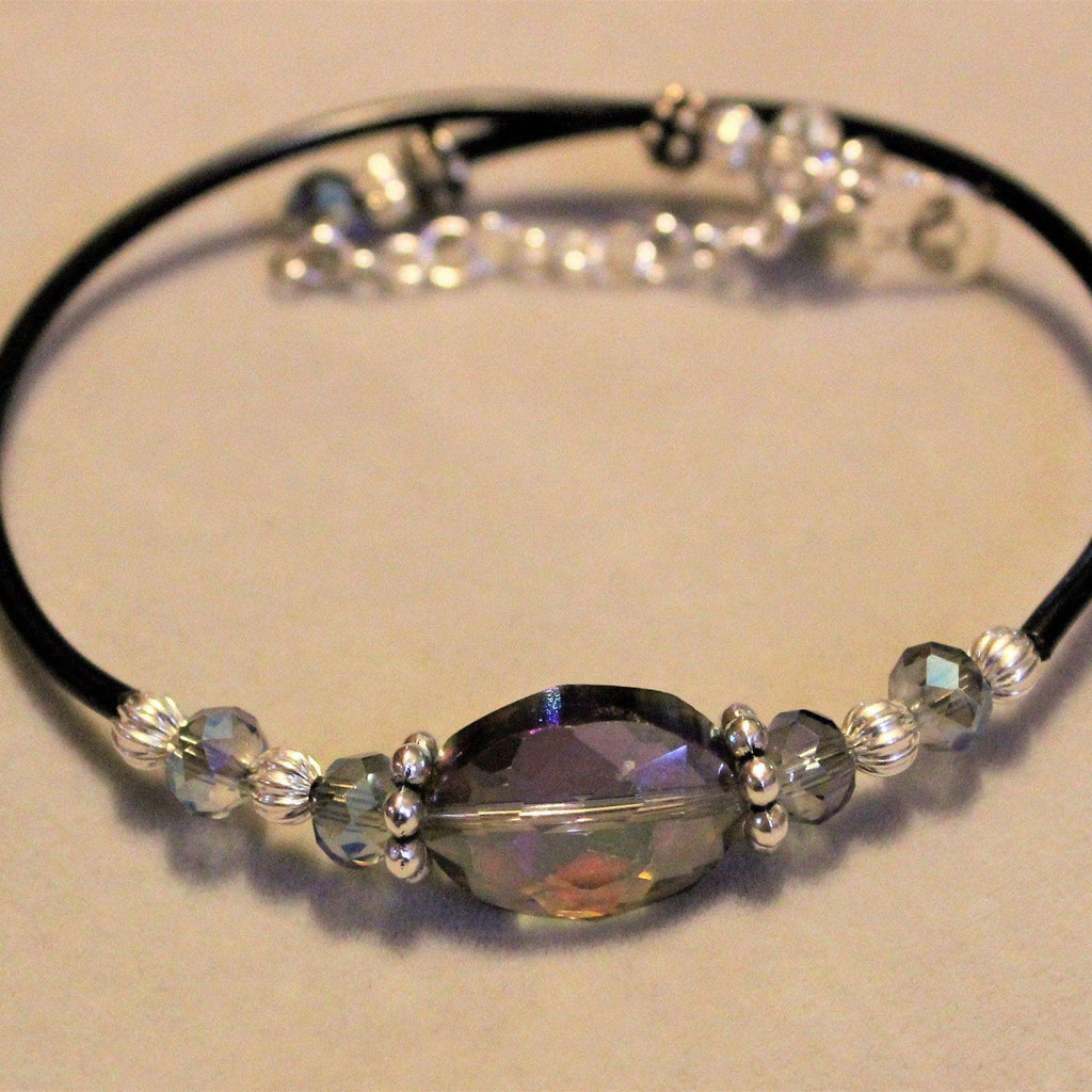 Ladybugfeet Jewelry Designs:Smokey Purple/Quartz Crystal Memory Wire Bangle bracelet