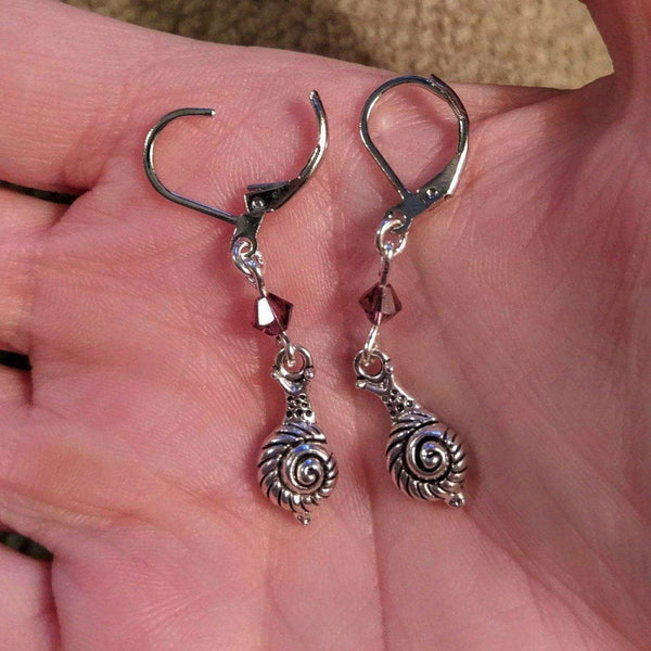 Ladybugfeet Jewelry Designs:Snail Crystal Earrings, Amethyst Swarovski crystal WHITE GOLD plated Leverback earrings