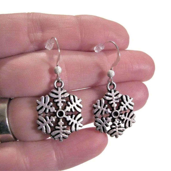 Ladybugfeet Jewelry Designs:Snowflake Pendant earrings, Holiday Sterling silver hook earring, Dangle earrings