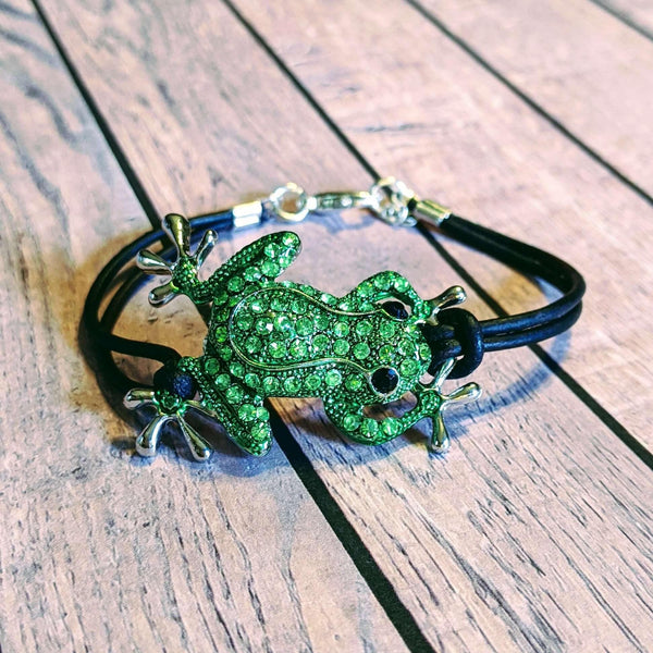 Ladybugfeet Jewelry Designs:Sparkly Frog Leather Bracelet