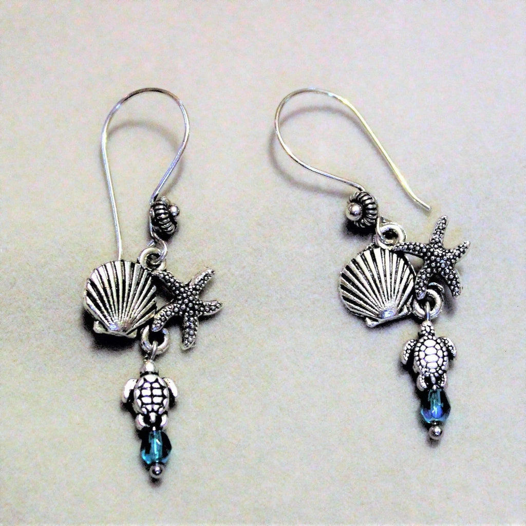 Ladybugfeet Jewelry Designs:Starfish, Seashell, Turtle Crystal Dangle Earrings