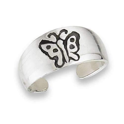 Ladybugfeet Jewelry Designs:Sterling SIlver Butterfly Toe Ring / Midi Ring / Pinky Ring / Child's Ring