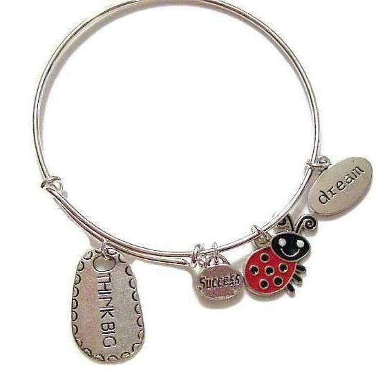 Ladybugfeet Jewelry Designs:THINK BIG, Success, Dream Stackable Bangle